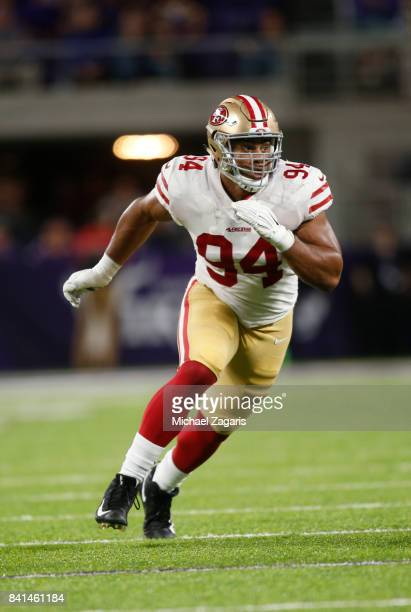 Solomon Thomas of the San Francisco 49ers rushes the quarterback during the game against the Minnesota Vikings at US Bank Stadium on August 27 2017...
