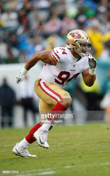 Solomon Thomas of the San Francisco 49ers rushes the quarterback during the game against the Philadelphia Eagles at Lincoln Financial Field on...