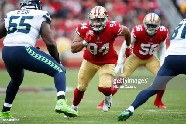 Solomon Thomas of the San Francisco 49ers rushes the quarterback during the game against the Seattle Seahawks at Levi's Stadium on November 26 2017...