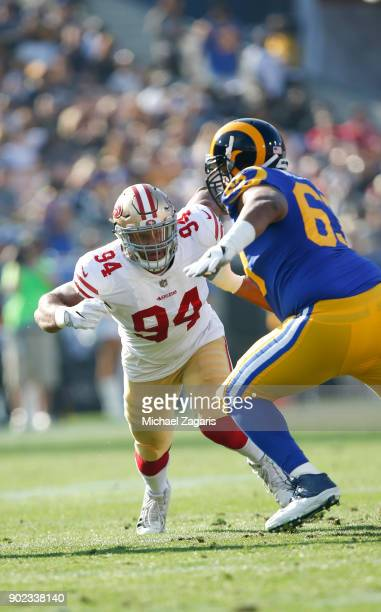 Solomon Thomas of the San Francisco 49ers rushes the quarterback during the game against the Los Angeles Rams at Los Angeles Memorial Coliseum on...