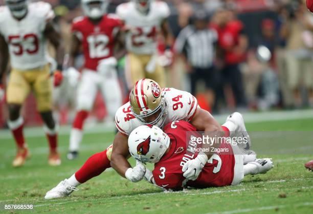 Solomon Thomas of the San Francisco 49ers sacks Carson Palmer of the Arizona Cardinals during the game at the University of Phoenix Stadium on...