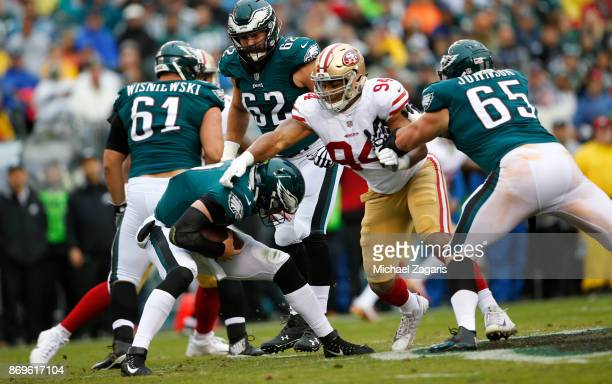 Solomon Thomas of the San Francisco 49ers sacks Carson Wentz of the Philadelphia Eagles during the game at Lincoln Financial Field on October 29 2017...