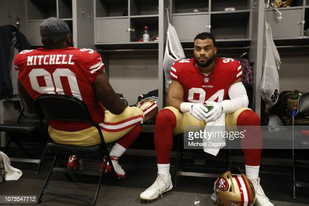 Solomon Thomas of the San Francisco 49ers sits in the locker room prior to the game against the Tampa Bay Buccaneers at Raymond James Stadium on...
