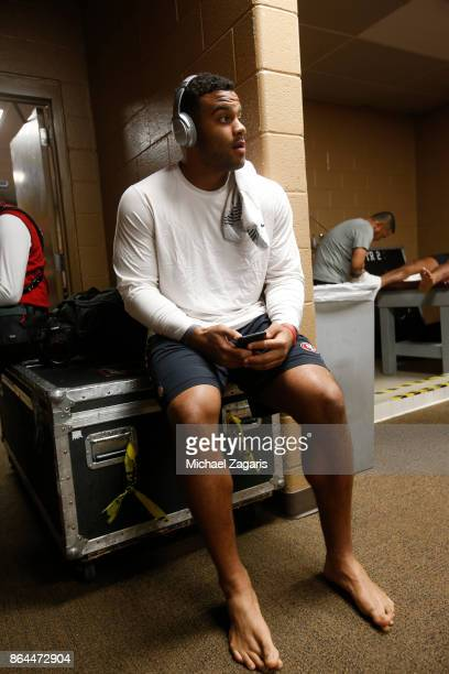 Solomon Thomas of the San Francisco 49ers sits in the locker room prior to the game against the Washington Redskins at FedEx Field on October 15 2017...