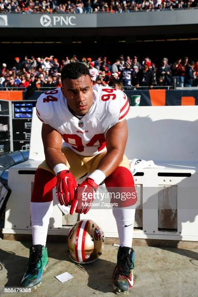 Solomon Thomas of the San Francisco 49ers sits on the sideline during the game against the Chicago Bears at Soldier Field on December 3 2017 in...