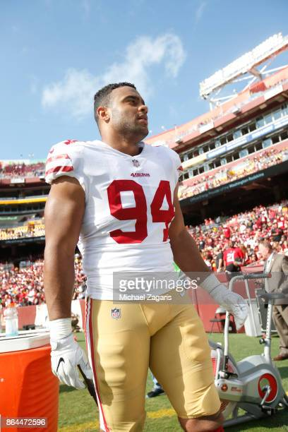 Solomon Thomas of the San Francisco 49ers stands on the sideline during the game against the Washington Redskins at FedEx Field on October 15 2017 in...