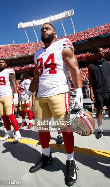 Solomon Thomas of the San Francisco 49ers stands on the sideline prior to the game against the Kansas City Chiefs at Arrowhead Stadium on September...