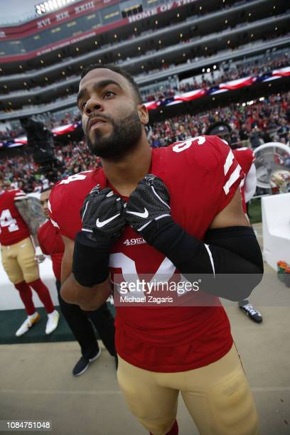 Solomon Thomas of the San Francisco 49ers stands on the sideline prior to the game against the Seattle Seahawks at Levi's Stadium on December 16 2018...