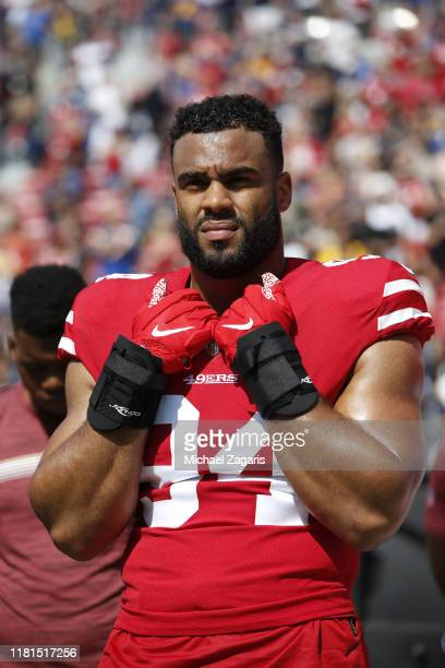 Solomon Thomas of the San Francisco 49ers stands on the sideline prior to the game against the Los Angeles Rams at the Los Angeles Memorial Coliseum...