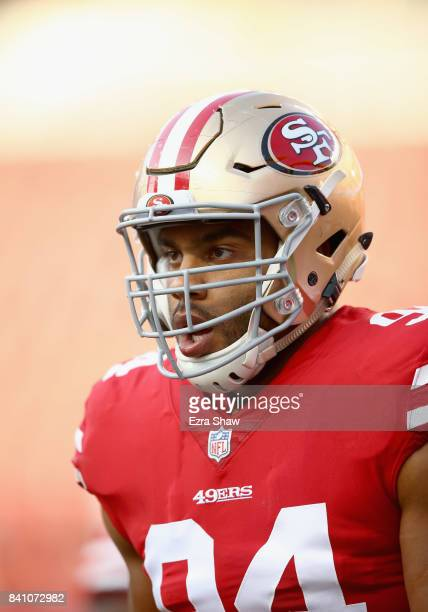 Solomon Thomas of the San Francisco 49ers warms up before their game against the Denver Broncos at Levi's Stadium on August 19 2017 in Santa Clara...