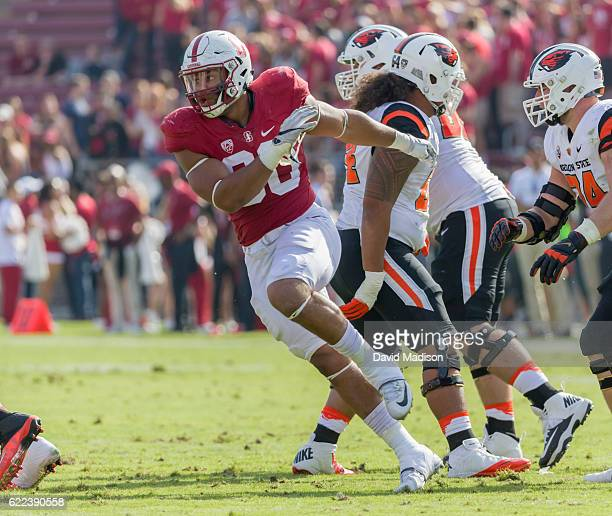 Solomon Thomas of the Stanford Cardinal plays in an NCAA Pac12 football game against the Oregon State Beavers on November 5 2016 at Stanford Stadium...