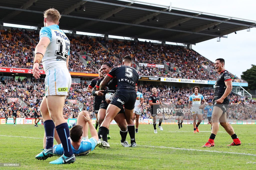 Solomone Kata of the Warriors celebrates after scoring a try during the round two NRL match between the New Zealand Warriors and the Gold Coast Titans at Mt Smart Stadium on March 17, 2018 in Auckland, New Zealand.