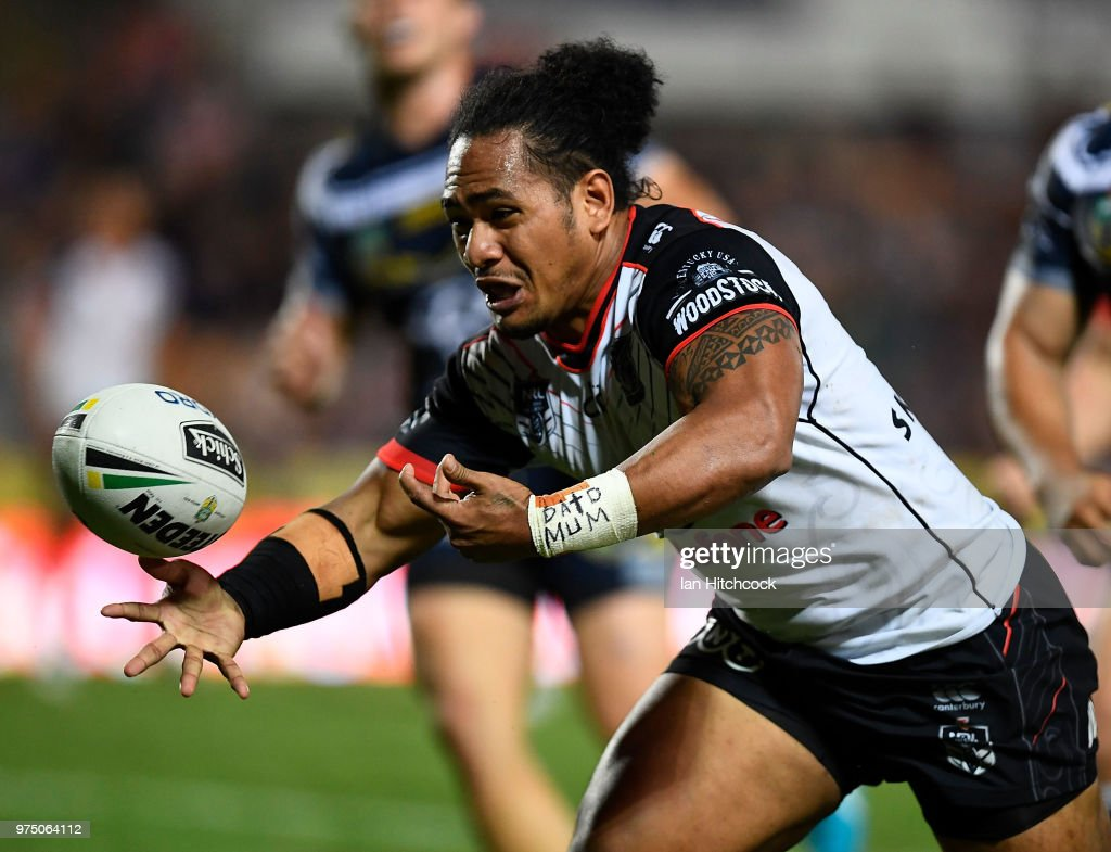 Solomone Kata of the Warriors drops the ball over the line during the round 15 NRL match between the North Queensland Cowboys and the New Zealand Warriors at 1300SMILES Stadium on June 15, 2018 in Townsville, Australia.