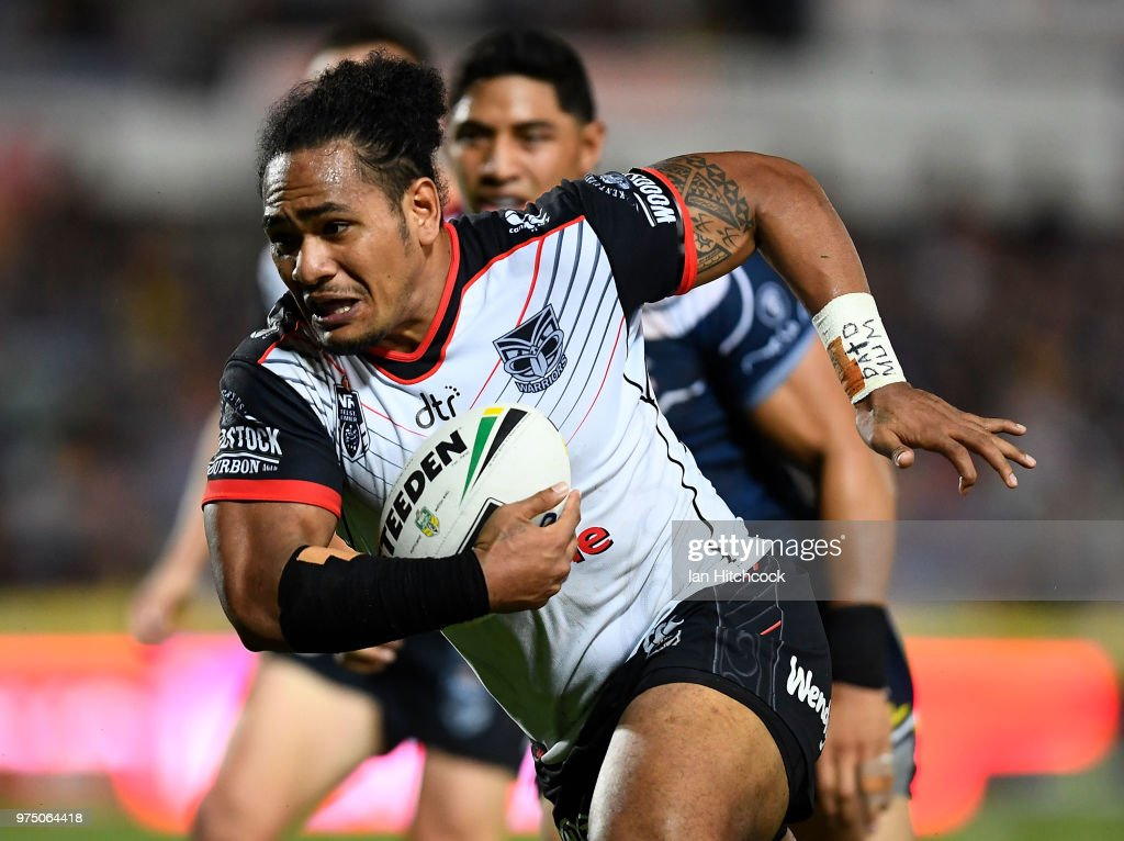 Solomone Kata of the Warriors makes a break during the round 15 NRL match between the North Queensland Cowboys and the New Zealand Warriors at 1300SMILES Stadium on June 15, 2018 in Townsville, Australia.