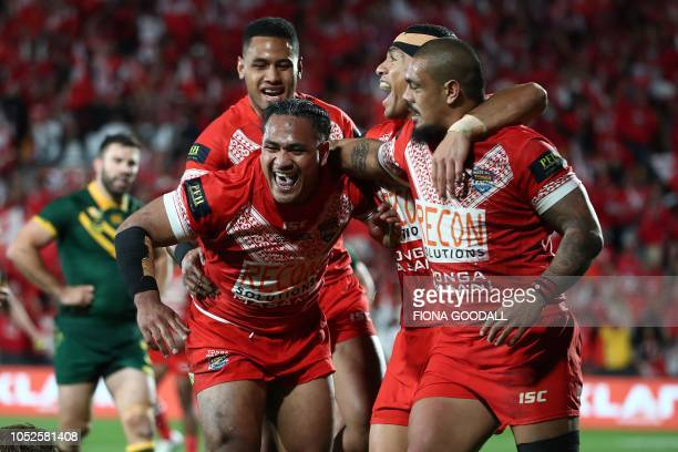 Solomone Kata of Tonga celebrates his try during the rugby league international Test match between Australia and Tonga at Mt Smart Stadium in...