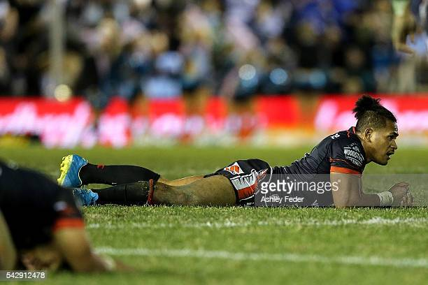 Solomone Katat of the Warriors looks dejected after losing during the round 16 NRL match between the Cronulla Sharks and the New Zealand Warriors at...