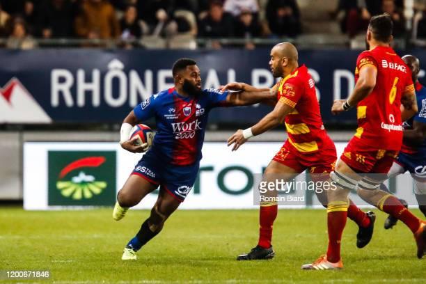 Solomoni RASOLEA of Grenoble and Afusipa Faha TAUMOEPEAU of Perpignan during the Pro D2 match between Grenoble and Perpignan at Stade des Alpes on...