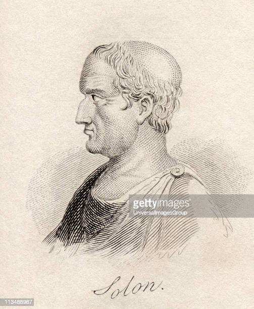 Solon 638 - 558 BC Athenian statesman lawmaker and lyric poet From the book Crabbs Historical Dictionary published 1825