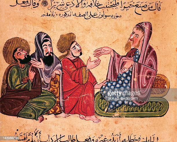Solon debating with his students miniature from the best rulings and the most precious sayings of AlMoubachir Arabic manuscript 13th Century