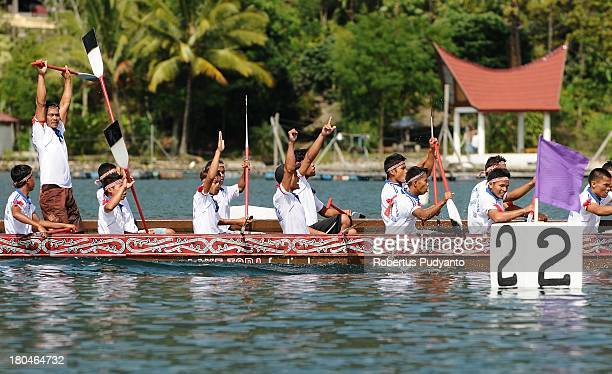 Solu Bolon Royal boat athletes in action during the competition as part of Lake Toba Festival 2013 on September 13 2013 in Medan Sumatra Indonesia...