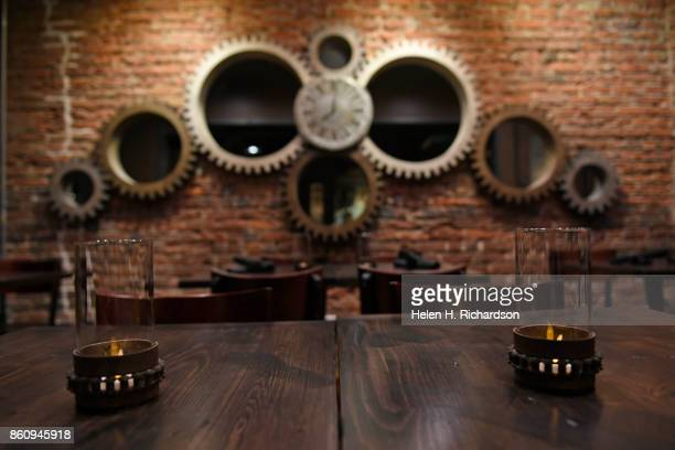 DENVER CO OCTOBER 10 Solutions Lounge has a very authentic steam punk theme throughout the restaurant on October 10 2017 in Denver Colorado The...