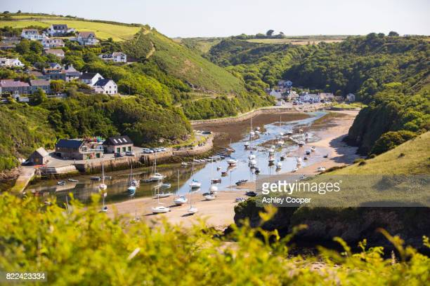 solva harbour, pembrokeshire, wales, uk. - south wales stock pictures, royalty-free photos & images