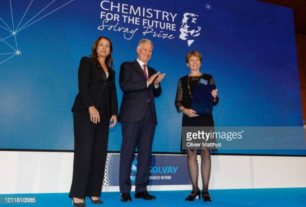 Solvay Group CEO Ilham Kadri and King Philippe of Belgium award the Chemistry for the Future Solvay Prize to professor Carolyn Bertozzi at the Palace...