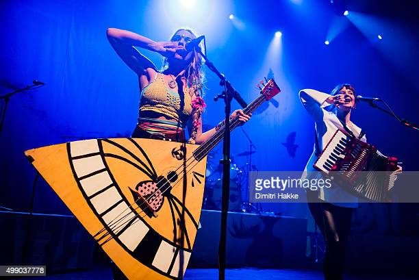 Solveig Heilo and Anne Marit Bergheim of Katzenjammer perform on stage at Paard on November 21 2015 in The Hague Netherlands