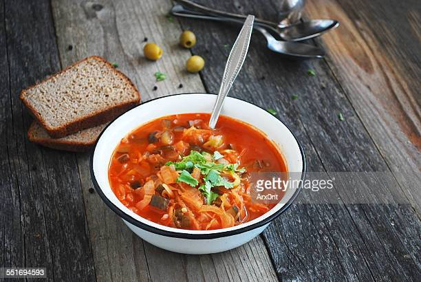 solyanka - russian tomato cabbage soup - cabbage stock pictures, royalty-free photos & images