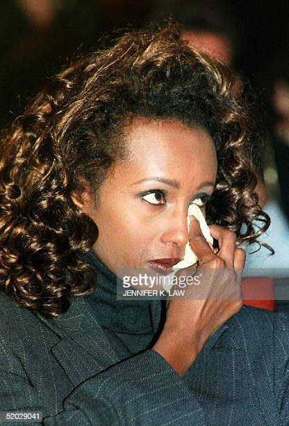 Somali fashion model Iman cries 09 November while watching a documentary on Somalia in which she appeared Iman answered reporters' questions during a...