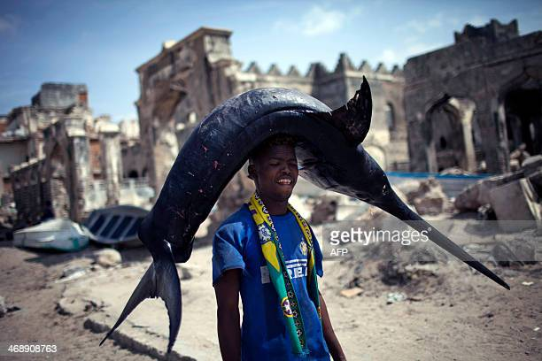 A Somali fisherman carries a swordfish from the port to the market in Mogadishu Somalia on February 11 2014 AFP PHOTO / JM LOPEZ