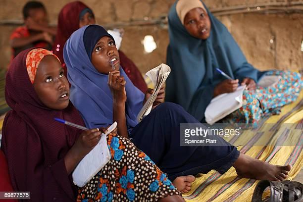 Somali girls study English at a school in Dadaab, the world�s biggest refugee camp August 19, 2009 in Dadaab, Kenya. The Dadaab refugee complex in...