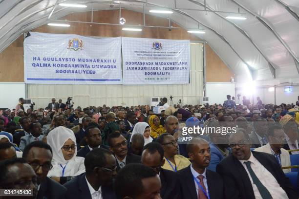 Somali lawmakers attend a voting session to elect a new president inside Mogadishu airport on February 08 2017 Somali lawmakers were choosing a...