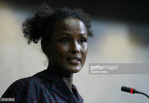 Somali model and James Bond girl Waris Dirie who underwent an extreme form of genital mutilation at the age of five addresses September 17 2004...