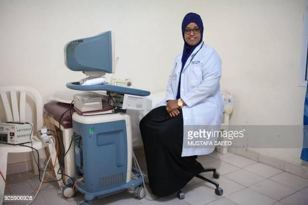 Somali Obstetriciangynaecologist Khadra Abdilahi Omar poses at Edna Adan Hospital in Hargeisa the capital of Somaliland northwestern Somalia on...