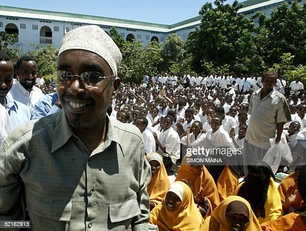 Somali Parliament Speaker Shariif Hassan Sheikh Aden arrives 09 February 2005 to meet students at the Al Fajri school in Mogadishu Aden is heading a...