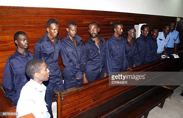 Somali pirates are arraigned in the court house of Kenya's coastal town of Mombasa November 19 2008 A Kenyan court charged eight Somalis seized...
