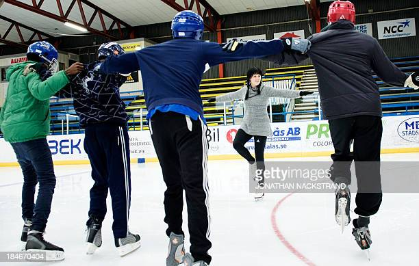 Somali players work on their ice balance during the Somali national Bandy team's training session on September 24 2013 in the city of Borlaenge...