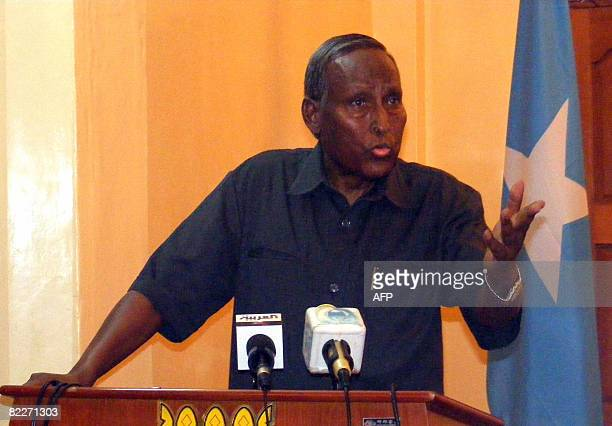 Somali president Abdulahi Yusuf Ahmed briefs the press in Mogadishu's presidential palace on August 12 2008 The president revealed a dispute among...