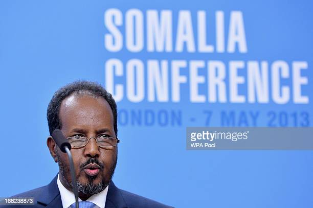 Somali President Hassan Sheikh Mohamud address a press conference at the Foreign and Commonwealth Office on May 7 2013 in London England The...