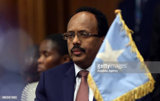 Somali president Mohamed Abdullahi Fermacu attends the meeting by Leaders of the Intergovernmental Authority on Development at an extraordinary...