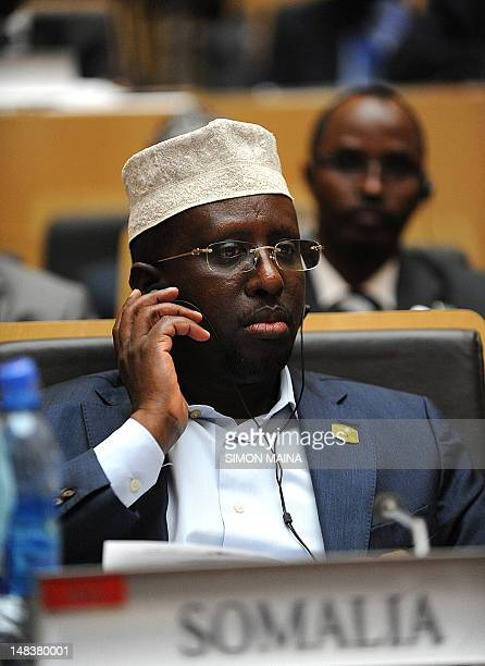 Somali President Sharif Sheikh Ahmed attends the African Union Summit on July 15 2012 in Addis Ababa African leaders hold a summit to discuss the...