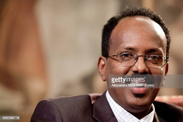 Somali Prime Minister Mohammed Abdullahi Mohammed attends a Broadcast interview during his visit to Italy EXCLUSIVE PICTURES