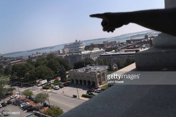 Somali refugee looks over Portland from the tower of Portland's city hall on August 29 2018 in Portland Maine As part of Portland Adult Education's...
