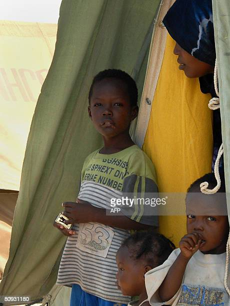 Somali refugees are seen in their tent on April 30 2008 in Kharaz refugees camp some 150 km west of Aden where they are being housed by the United...