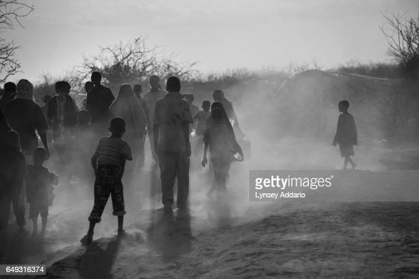 Somali refugees wait to be relocated by the International Organization for Migration within the Dadaab refugee camp on the Kenyan border with Somalia...