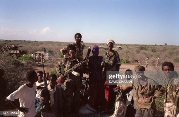 Somali Salvation democratic Front fitghers armed move in their military vehicul 24 March 1991 in Bufo 85 kilometers of Mogadiscio President Siad...