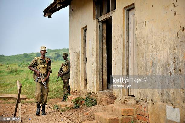 A Somali soldier on a training patrol in aurban environment in the EUTM camp in Uganda