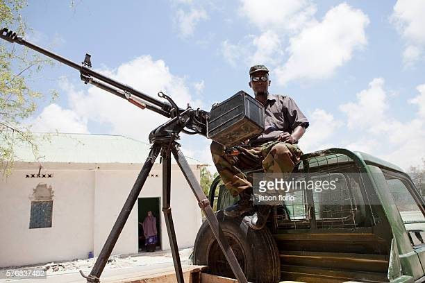 A Somali Transitional Government Forces soldier protecting the Villa Somalia Clinic in Mogadishu