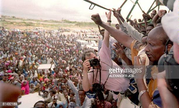Somali warlord Mohamed Farrah Aidid addresses a crowd of more than 1000 supporters during a rally to protest the UN military strikes against Aidid's...